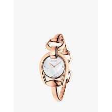 Buy Gucci YA139508 Women's Horsebit Diamond Bracelet Strap Watch, Rose Gold/White Online at johnlewis.com