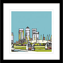 Buy Jamie B. Edwards - Urban Thames Barrier & Canary Wharf Framed Print, 54 x 54cm Online at johnlewis.com