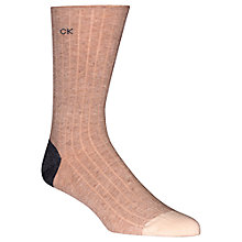 Buy Calvin Klein Giza Ribbed Egyptian Cotton Socks, Camel Online at johnlewis.com