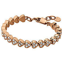 Buy Dyrberg/Kern Muamor Heart Swarovski Crystal Bracelet, Rose Gold Online at johnlewis.com