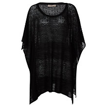 Buy Jigsaw Textured Knit Poncho, Black Online at johnlewis.com