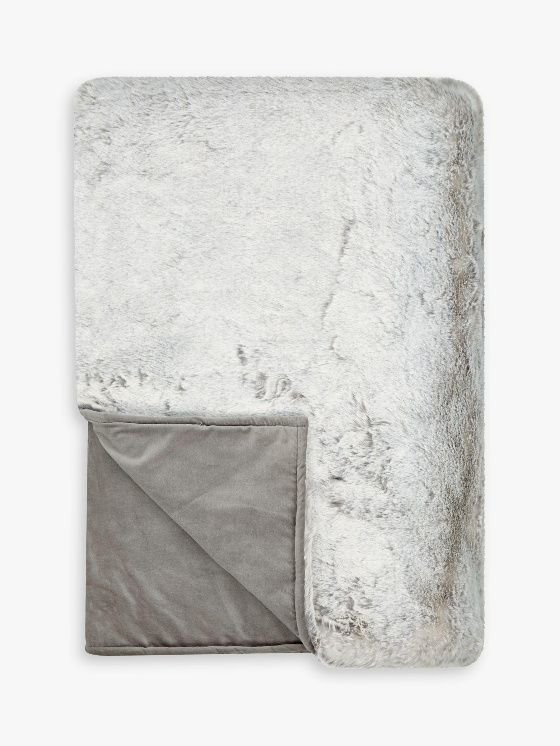Helene Berman Helene Berman Frost Faux Fur Throw, Silver / White