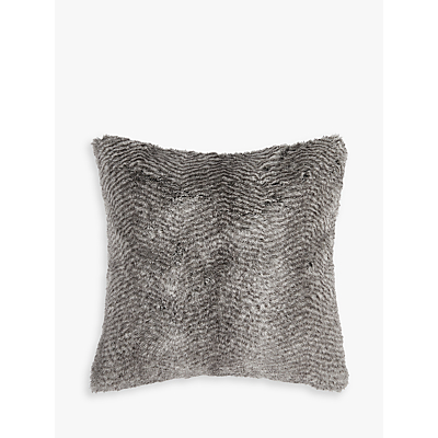 Image of Helene Berman Chevron Rabbit Faux Fur Cushion, Grey