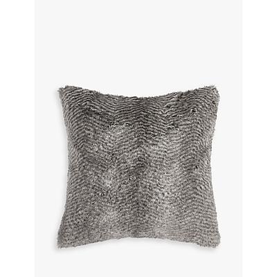 Helene Berman Chevron Rabbit Faux Fur Cushion, Grey