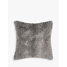 Buy Helene Berman Chevron Rabbit Faux Fur Cushion, Grey Online at johnlewis.com
