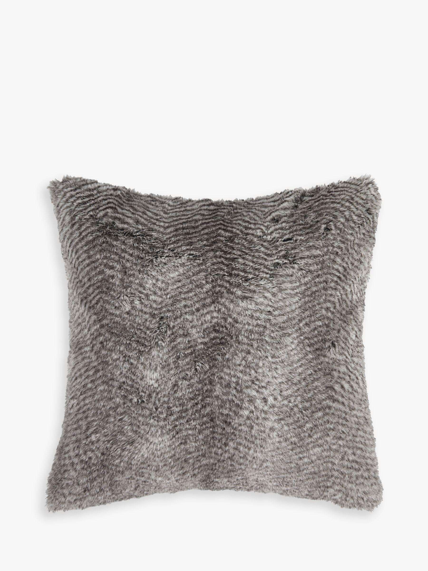 Helene Berman Helene Berman Chevron Rabbit Faux Fur Cushion, Grey