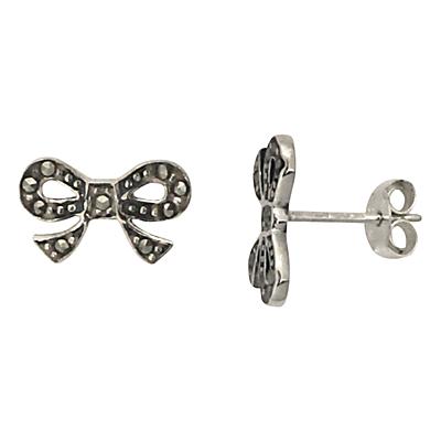 Nina B Sterling Silver Marcasite Bow Stud Earrings, Silver