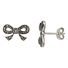 Buy Nina B Sterling Silver Marcasite Bow Stud Earrings, Silver Online at johnlewis.com