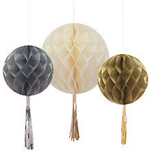 Buy Talking Tables Party Porcelain Honeycomb Metallic Tassels, Pack of 3 Online at johnlewis.com