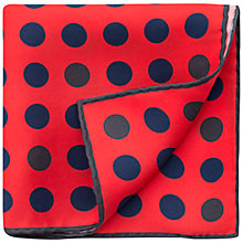 Buy Thomas Pink Random Dot Silk Pocket Square, Red/Navy Online at johnlewis.com