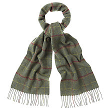 Buy Barbour Plaid Check Lambswool Scarf, Sage Online at johnlewis.com