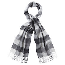 Buy Barbour Large Tattersall Check Lambswool Scarf, Charcoal Online at johnlewis.com