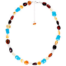 Buy Be-Jewelled Sterling Silver Baltic Amber Bead Necklace, Amber Online at johnlewis.com