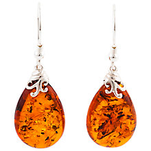Buy Be-Jewelled Sterling Silver Cognac Baltic Amber Drop Earrings, Amber Online at johnlewis.com