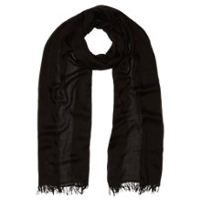 Buy Jigsaw Plain Fringe Edge Scarf, Black Online at johnlewis.com