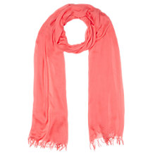 Buy Jigsaw Fringe Edge Scarf, Coral Online at johnlewis.com