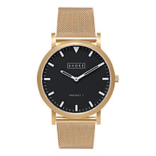 Buy Shore Projects W003S020G Unisex St Ives Mesh Bracelet Strap Watch, Gold/Black Online at johnlewis.com