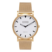 Buy Shore Projects W004S020G Unisex Portland Mesh Bracelet Strap Watch, Gold/White Online at johnlewis.com