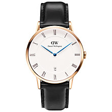 Buy Daniel Wellington 1101DW Dapper Leather Strap Watch, Black/White Online at johnlewis.com