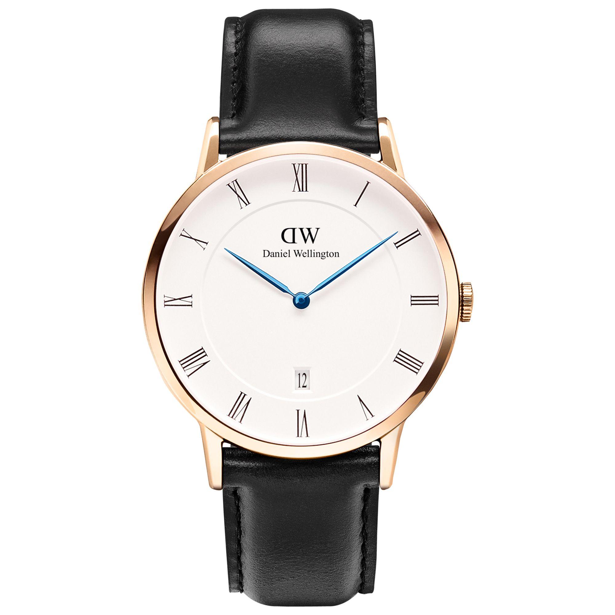 Daniel Wellington Daniel Wellington 1101DW Unisex Dapper Leather Strap Watch, Black/White