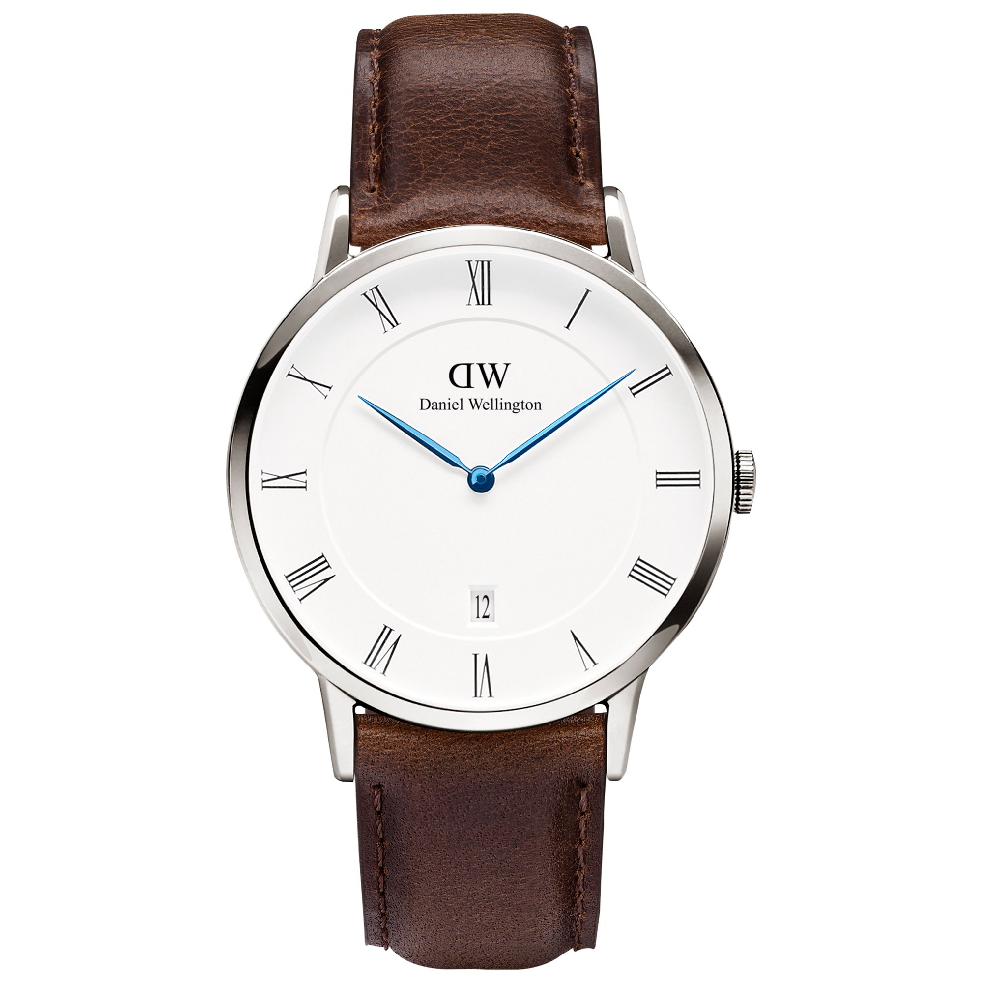 Daniel Wellington Daniel Wellington 1123DW Unisex Dapper Leather Strap Watch, Dark Brown/White