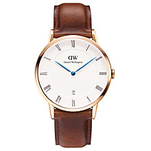 Buy Daniel Wellington 1100DW Men's Dapper Leather Strap Watch, Brown/White Online at johnlewis.com