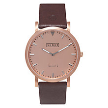 Buy Shore Projects W005S015R Unisex Salcombe Leather Strap Watch, Brown/Rose Gold Online at johnlewis.com