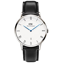 Buy Daniel Wellington 1121DW Men's Dapper Leather Strap Watch, Black/White Online at johnlewis.com