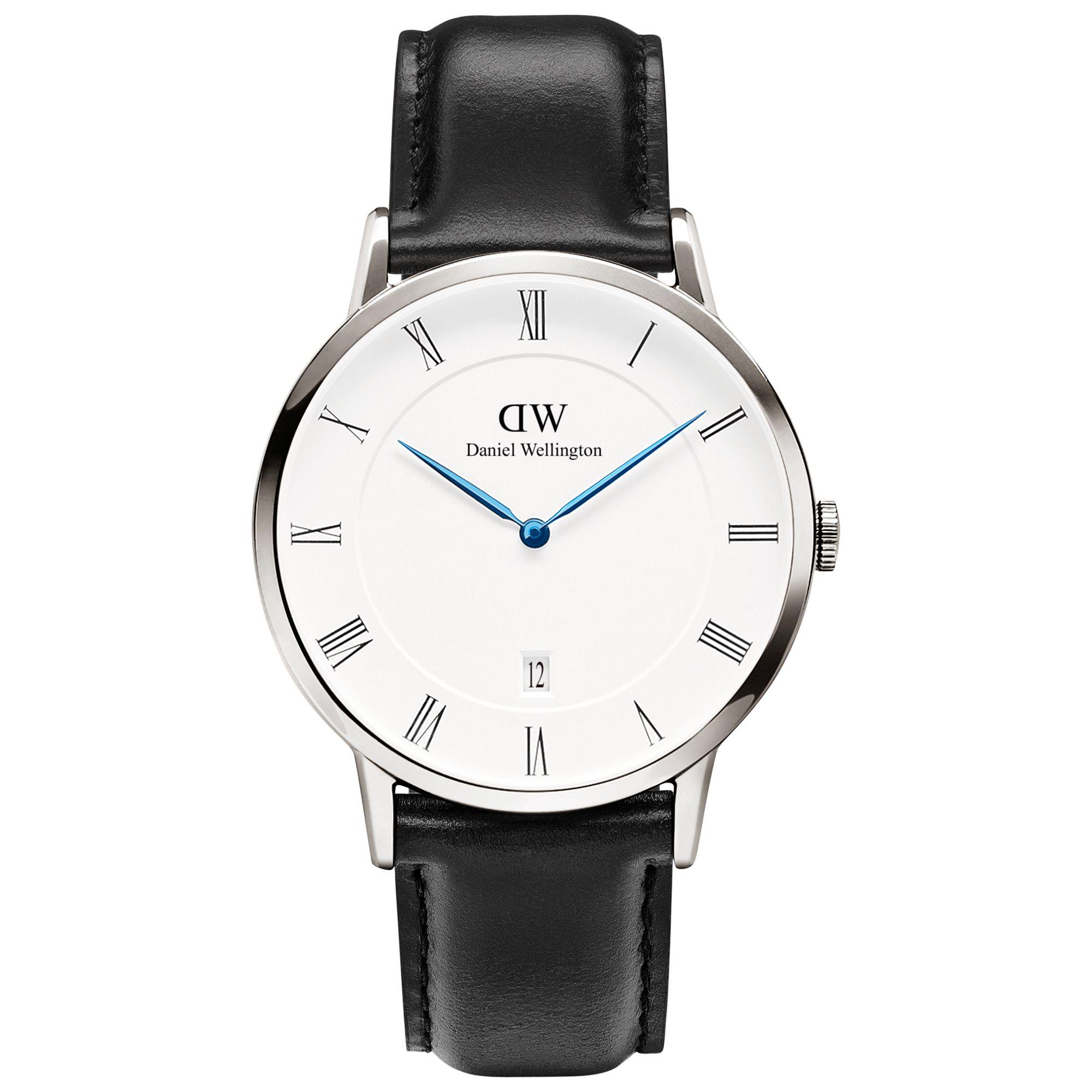 Daniel Wellington Daniel Wellington 1121DW Unisex Dapper Leather Strap Watch, Black/White