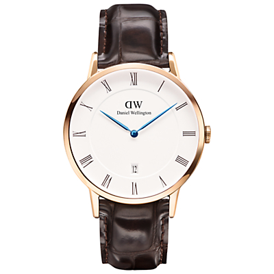 Daniel Wellington 1102DW Dapper Mock Croc Leather Strap Watch, Brown/White