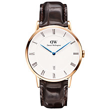 Buy Daniel Wellington 1102DW Men's Dapper Mock Croc Leather Strap Watch, Brown/White Online at johnlewis.com