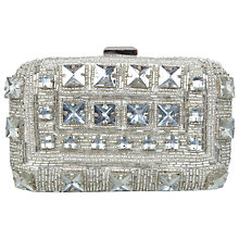 Buy Miss Selfridge Stone Embellished Hardcase Clutch Bag, Silver Online at johnlewis.com