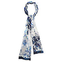 Buy Viyella Floral Burnout Silk Blend Scarf, Navy Online at johnlewis.com