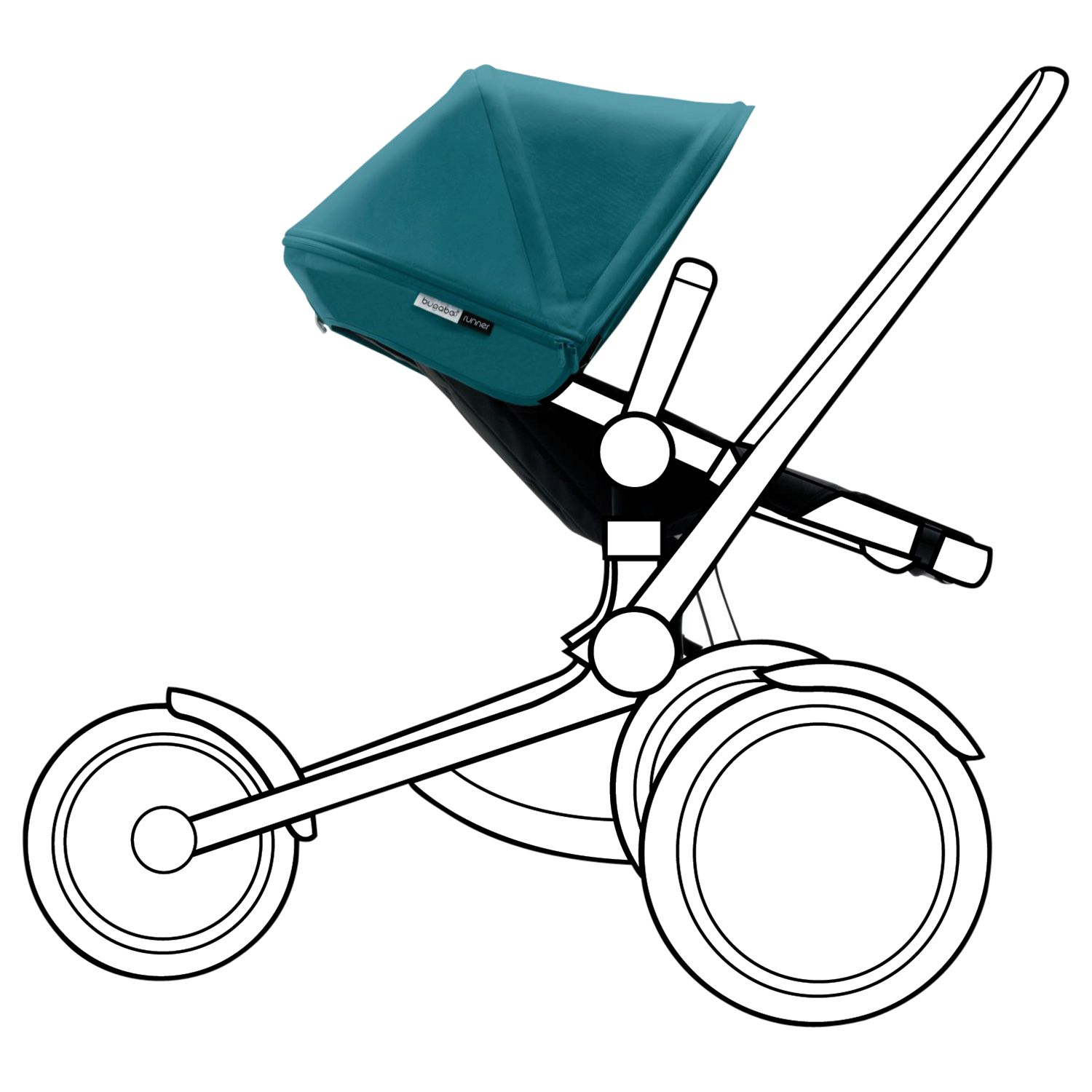 Bugaboo Bugaboo Runner Pushchair Seat with Petrol Blue Canopy
