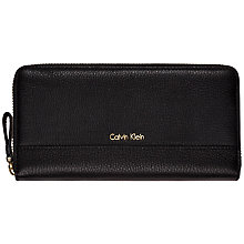 Buy Calvin Klein Kate Large Leather Zip Around Purse, Black Online at johnlewis.com