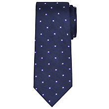 Buy John Lewis Navy Base Square Print Silk Tie Online at johnlewis.com
