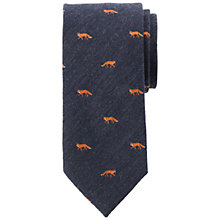 Buy John Lewis Embroidered Fox Wool Silk Tie, Navy Online at johnlewis.com