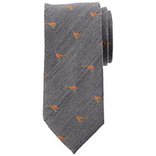 Buy John Lewis Embroidered Pheasant Wool Silk Tie, Grey Online at johnlewis.com