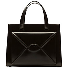 Buy Lulu Guinness Louise Medium Leather Lips Envelope Grab Bag, Black Online at johnlewis.com
