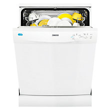 Buy Zanussi ZDF21001WA Freestanding Dishwasher, White Online at johnlewis.com