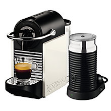 Buy Nespresso Pixie Clips Coffee Machine with Aeroccino by Magimix, White/Black Online at johnlewis.com