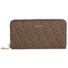 Buy DKNY Coated Large Zip Around Purse, Chestnut Online at johnlewis.com