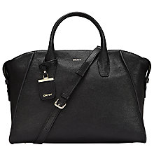 Buy DKNY Chelsea Vintage Leather Large Satchel, Black Online at johnlewis.com