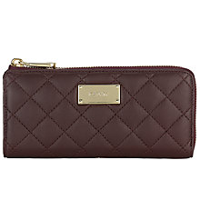 Buy DKNY Leather Quilted Large Zip Around Purse, Red Online at johnlewis.com