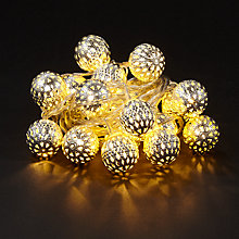 Buy John Lewis Small LED Moroccan Ball Line Lights, x 20, Silver Online at johnlewis.com
