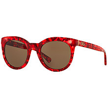 Buy Dolce & Gabbana DG4249 Oval Framed Sunglasses, Red Marble Online at johnlewis.com