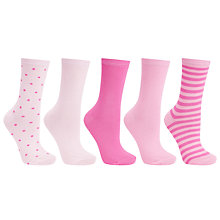 Buy John Lewis Cotton Mix Fashion Ankle Socks, Pack of 5, Pink Online at johnlewis.com