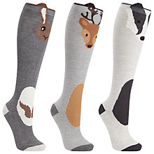 Buy John Lewis Novelty Animal Knee Socks, Pack of 3, Multi Online at johnlewis.com