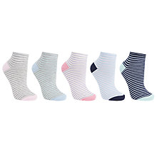 Buy John Lewis Pastel Stripes Trainer Liner Socks, Pack of 5, Multi Online at johnlewis.com
