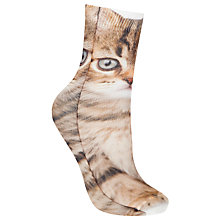 Buy John Lewis Kitten Photo Ankle Socks, Pack of 1, Brown Online at johnlewis.com